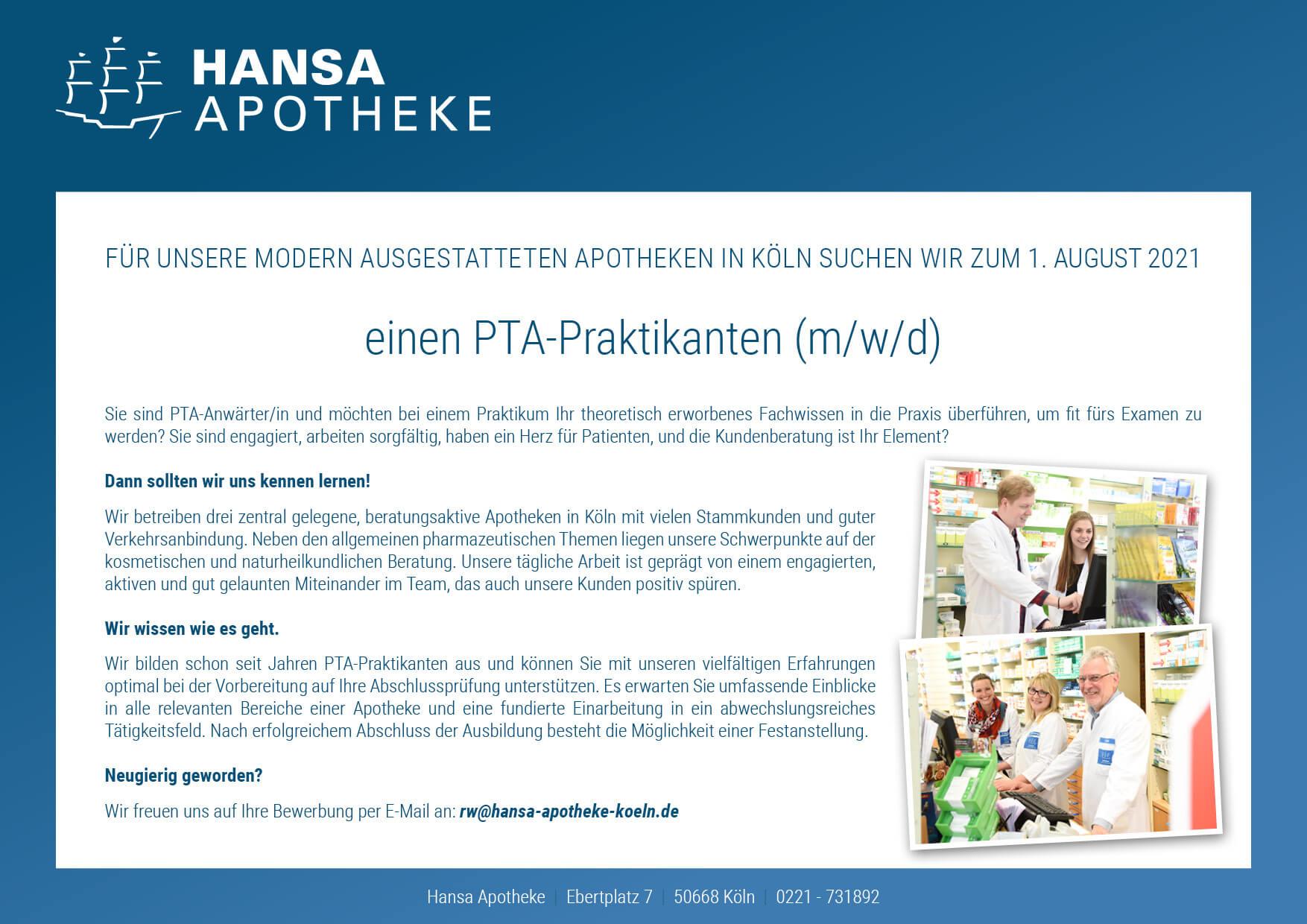 Stellenanzeige PTA 2020