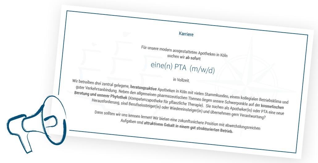 Stellenanzeige PTA 2021